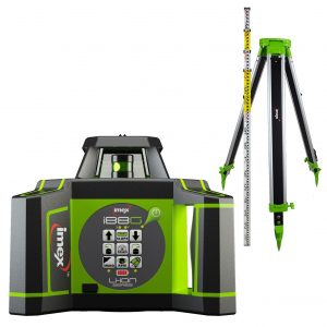Imex I88GK Next Generation Rotary Laser Level Green Beam Kit with Tripod & Staff & with a German Made LRX10 Receiver