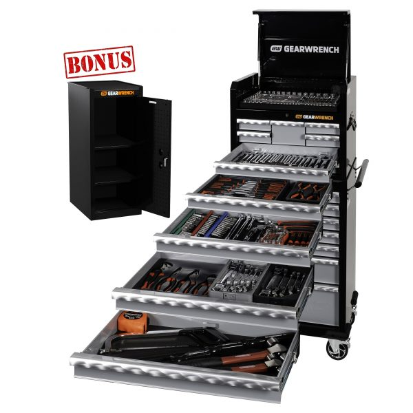 """GEARWRENCH 89915 304 Piece Combination Tool Kit 26"""" Tool Chest & Roller Cabinet Trolley Bonus Tool Storage Side Cabinet 83161"""