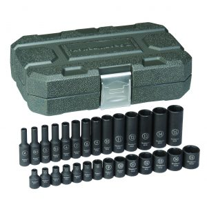 "GEARWRENCH 84901 28 Piece 1/4"" Drive 6 Point Standard & Deep Impact METRIC Socket Set"