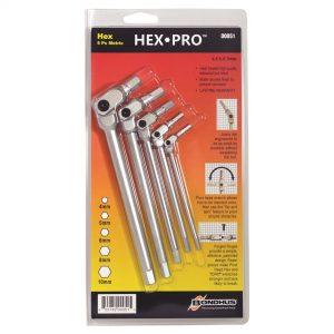 Bondhus 00051 Pro Series Pivot Head 5 Piece Hex Key Set Metric '00051'
