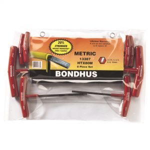 Bondhus 13387 T-Handle Hex End Key Set 8 Piece Metric - Made in USA