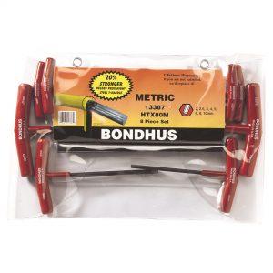 Bondhus 13387 T-Handle Hex End Key Set 8 Piece Metric - Made in USA