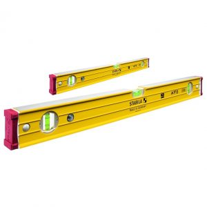 Stabila 17355 Heavy Duty Box Frame Ribbed Spirit Level Door Jamb Set - 3 Vial 600mm (60cm) 96-2/60 & 2000mm (200cm) 96-2/200 '17355'