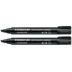 STAEDTLER ST-3509 Permanent Marker Chisel Point Black 2mm-5mm Tip Two Pack – Made in Germany